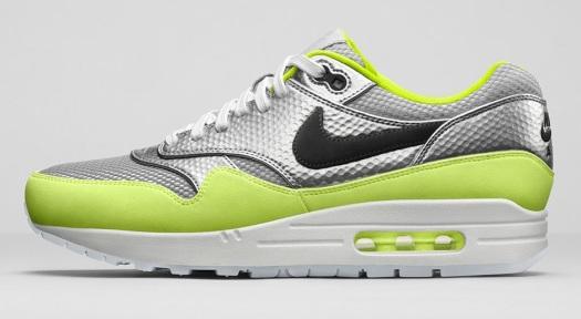 Nike Air Max 1 FB Premium Mercurial Pack metallic silver & volt