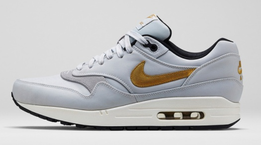 Nike Air Max 1 665873-001 Pure Platinum/Metallic Gold-Black